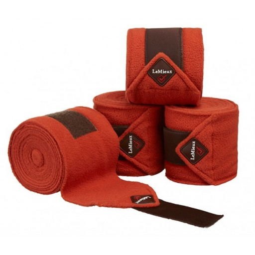 Le Mieux Luxury Polo Bandages Burnt Orange/Brown Set of 4