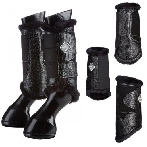 Le Mieux St Moritz Fleece Crocodile Leather Brushing Boots Black