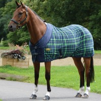 WeatherBeeta Fleece Cooler Standard Neck Navy/Lime Plaid