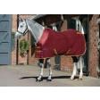 WeatherBeeta Fleece Cooler Standard Neck Travel Rug Burgundy/Gold
